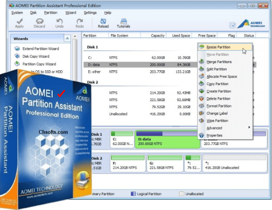 aomei partition assistant free download with crack